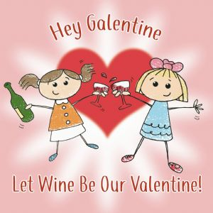 CS27  Happy Galentines Day Card Wine